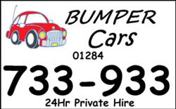 Bumper Cars logo with telephone (01284 733933) and the words 24 hour Private Hire