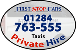 First Stop Cars logo with telephone (01284 76355) and the words Taxis Private Hire