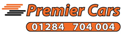 Premier Cars logo with telephone (01284 704004)